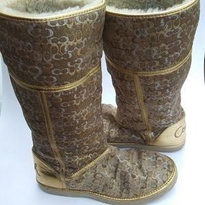 Coach Nikole metallic boots Size 9B